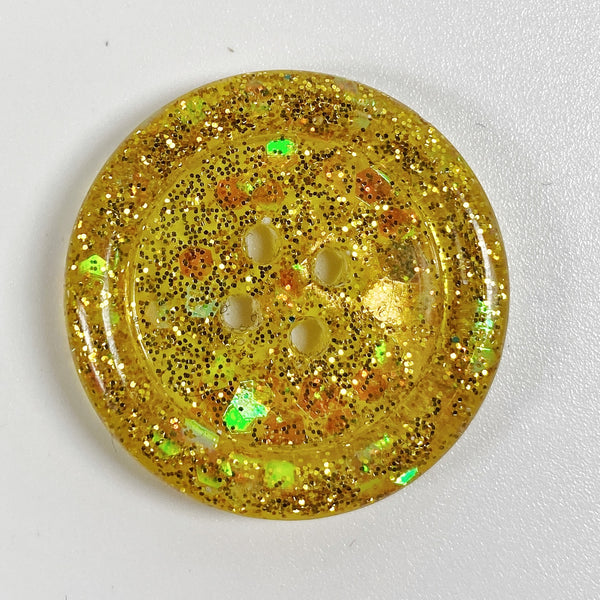 Marigold Rimmed Resin Button, front view