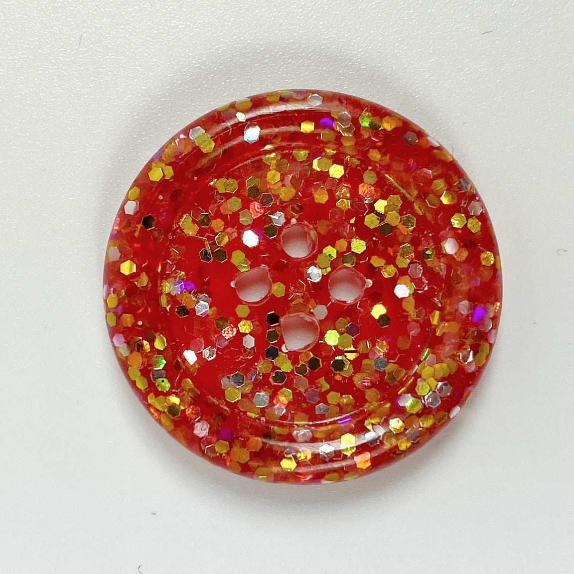 Deep Pink Rimmed Resin Button, front view