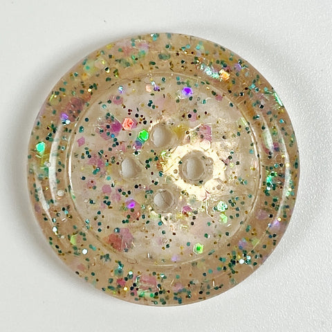 Palest Blush Rimmed Resin Button, front view