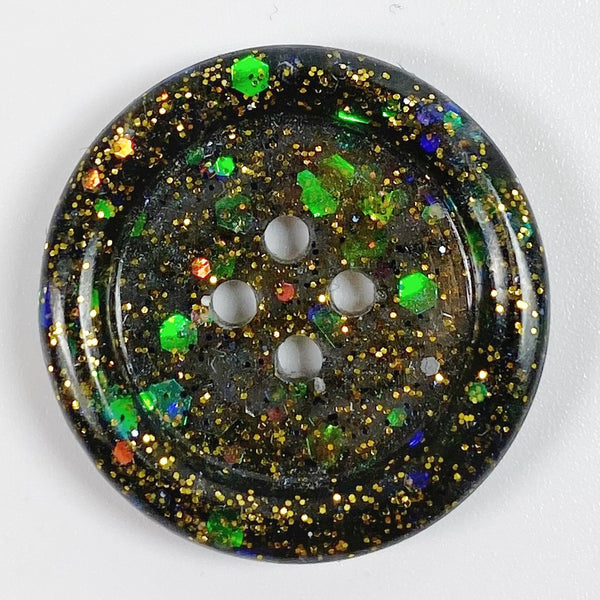 Midnight Magic Rimmed Resin Button, front view