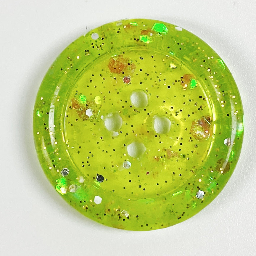 Very Kiwi Green Handmade Rimmed Resin Buttons, front view