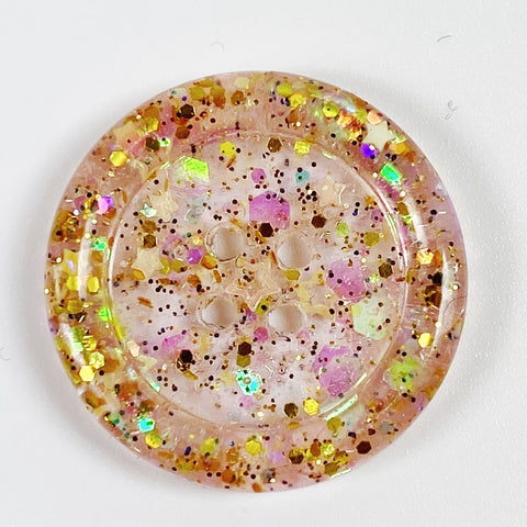 Blush Rimmed Resin Button, front view
