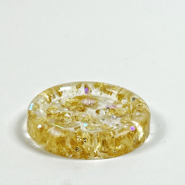 Gold Dust Resin Button Side view