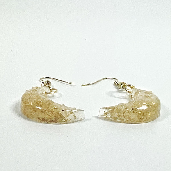 Pale Crescent Moon with Gold Flecks Resin Earrings side view