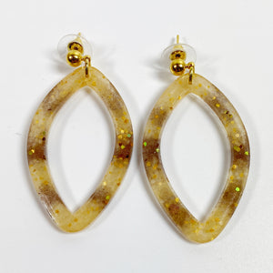 Tortoiseshell Brown and Blush Pointed Oval Hoop Resin Earrings front view