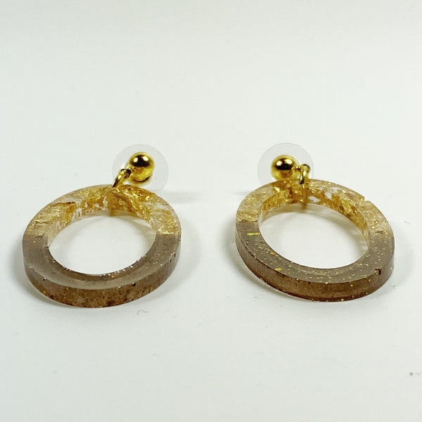 Gold Leaf & Pale Brown Sparkly Oval Hoop Resin Earrings side view