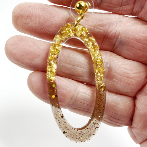 Gold Leaf & Pale Brown Sparkly Oval Hoop Resin Earrings on hand for size guidance