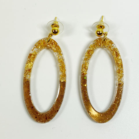 Gold Leaf & Pale Brown Sparkly Oval Hoop Resin Earrings front view