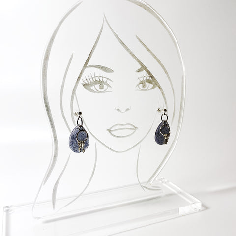 Blue Resin Crystal Resin Earrings with silver-toned key ring charm with keys on acrylic model display head