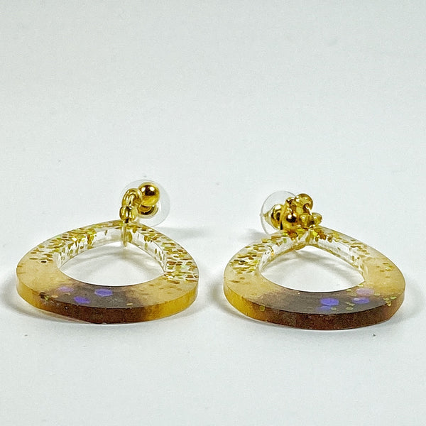 Pale Gold to Brown Sparkly Hoop Resin Earrings side view