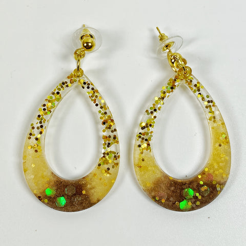 Pale Gold to Brown Sparkly Hoop Resin Earrings front view