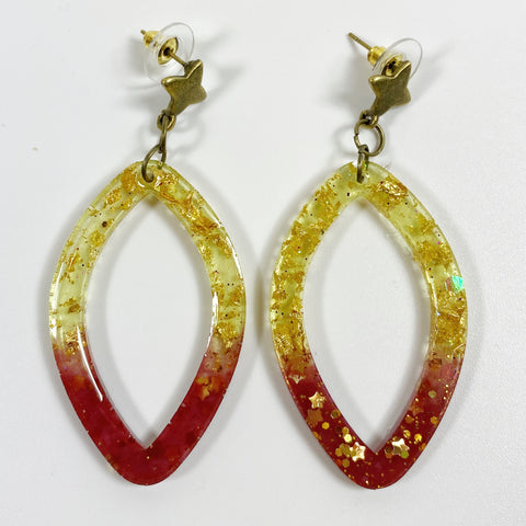 Crimson and Gold Pointed Oval Hoop Earrings front view