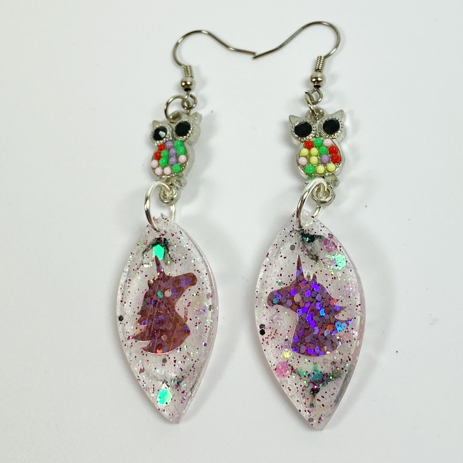 Owl & Unicorn Besties Resin Earrings front view