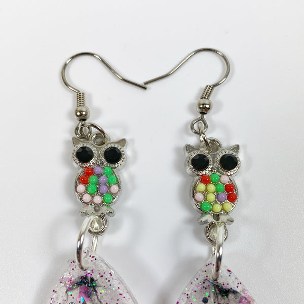 Owl & Unicorn Besties Resin Earrings side view