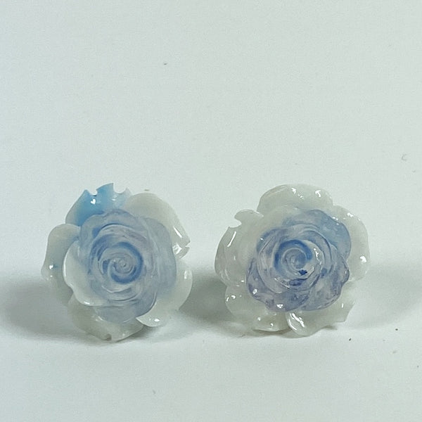 Blue and White Rose Resin Stud Earrings front view