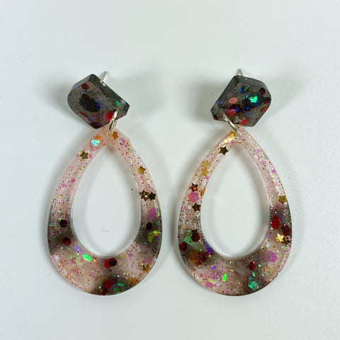 Blush and Ink Striped Resin Hoop Earrings front view