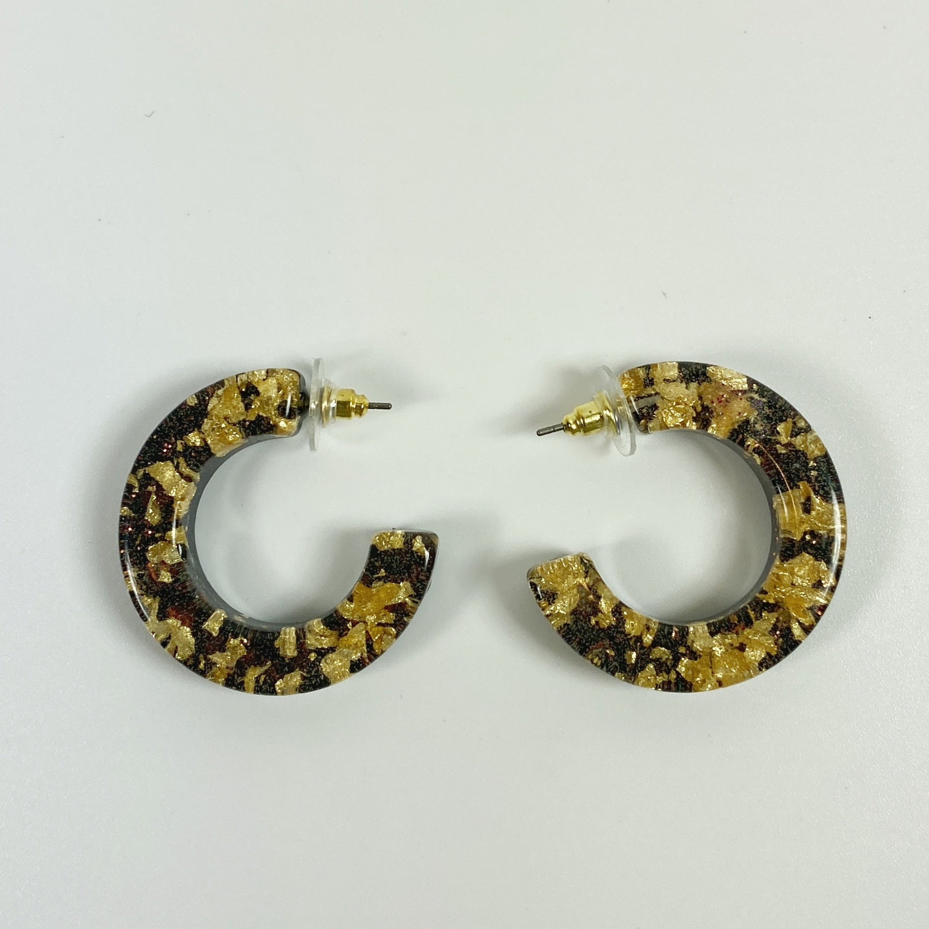 Gold Flakes over Coal C-Hoop Resin Earrings front view