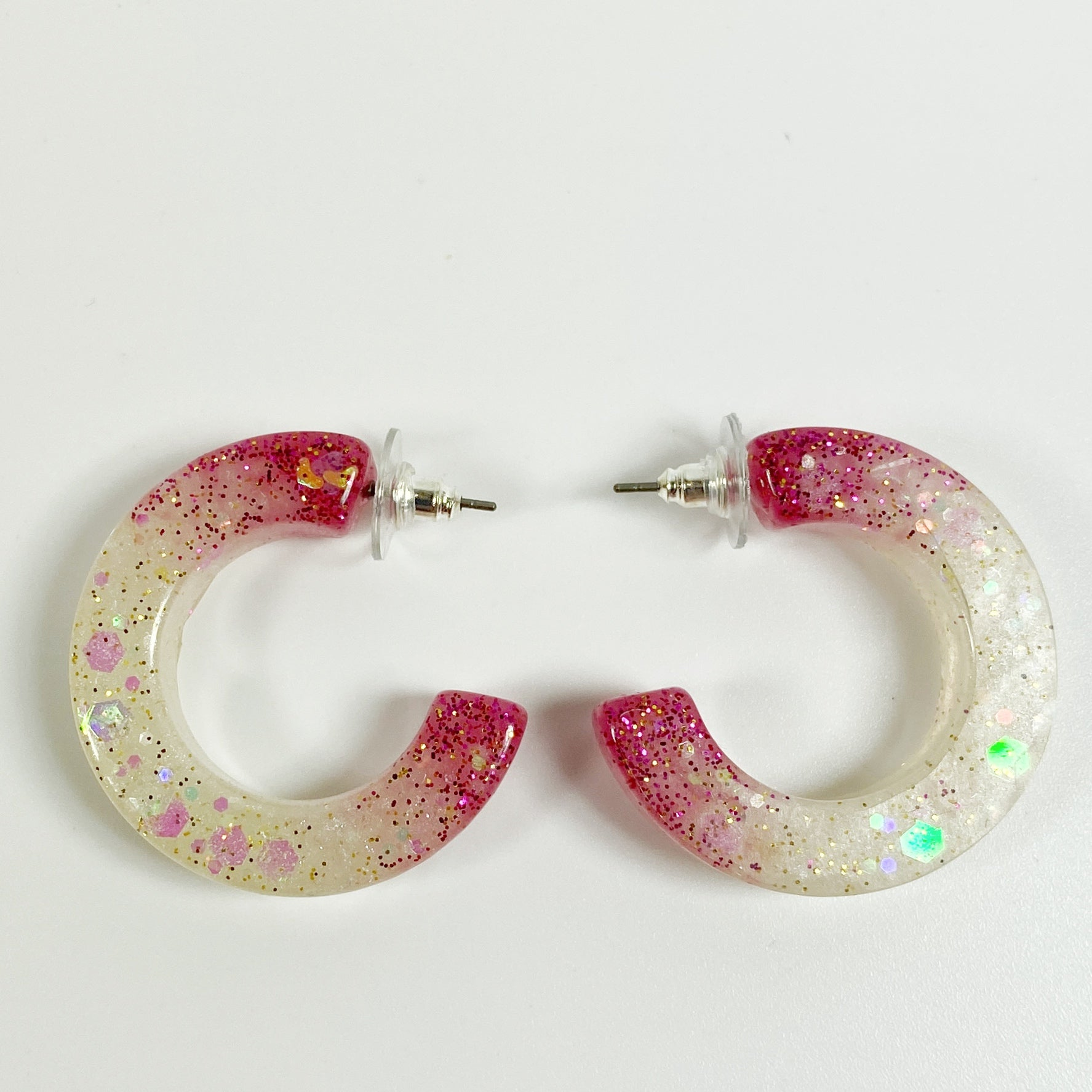 Scarlet and Grey C Hoop Handmade Resin Earrings front view