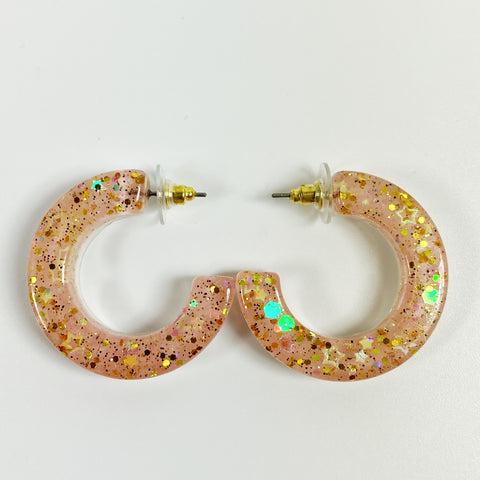 Blush and Gold C-Hoop Handmade Resin Earrings front view
