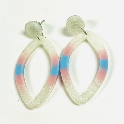 Resin pointed oval hoop earrings, milky white with a band of sky blue surrounded by two bands of true pink