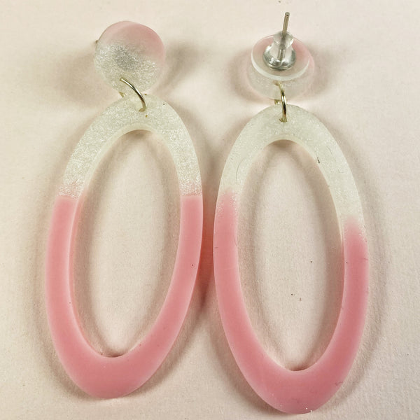 I'm Blushing handmade pink and white resin hoop Earrings close view