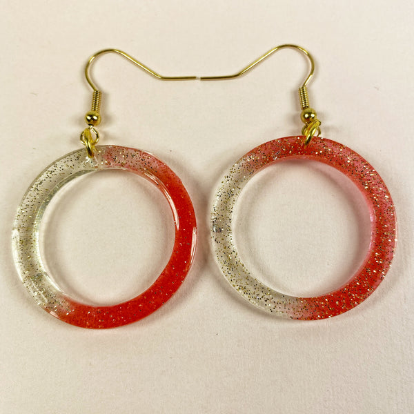 Watermelon and ice with glitter in hoops