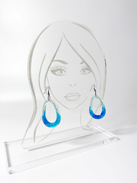 Ombre Resin Hoop  Earrings on Acrylic display head