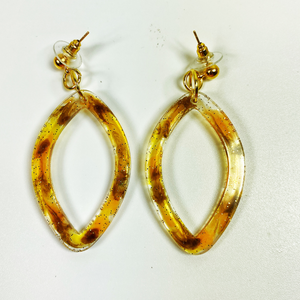 Tortoise Shell Resin earrings, pointed hoops