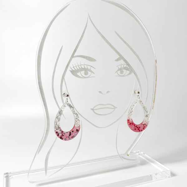 Scarlet and Grey Big Hoops on acrylic display head