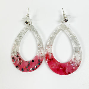 Scarlet and Grey Big Hoop resin earrings