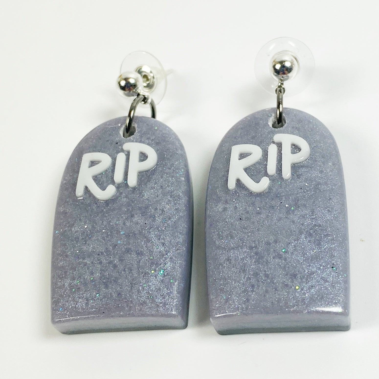 Graveyard RIP Resin Earrings, front view
