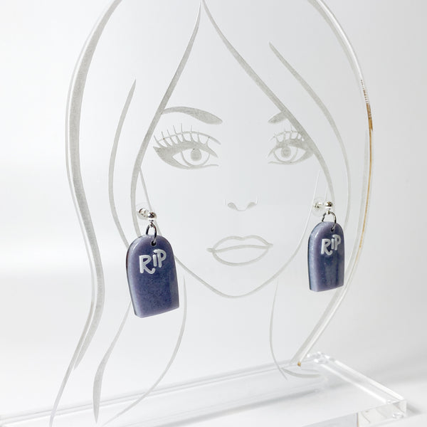 Graveyard RIP Resin Earrings on acrylic head model