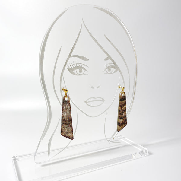 Black and Brown Sparkly Resin Dangle Earrings on acrylic display stand