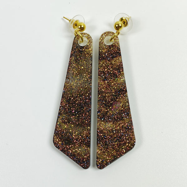 Black and Brown Sparkly Resin Dangle Earrings front view