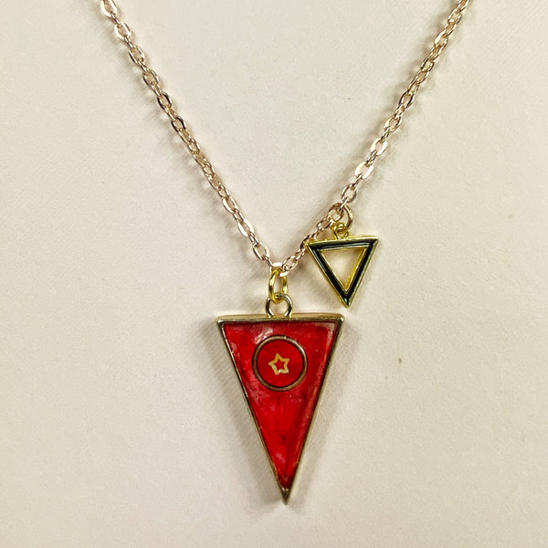 Scarlet Triangle with a Star Resin Necklace medium distance on necklace stand