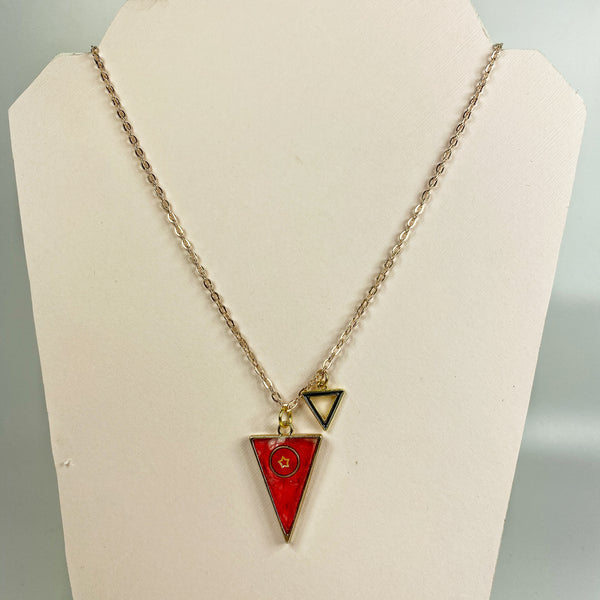 Scarlet Triangle with a Star Resin Necklace shown on necklace stand