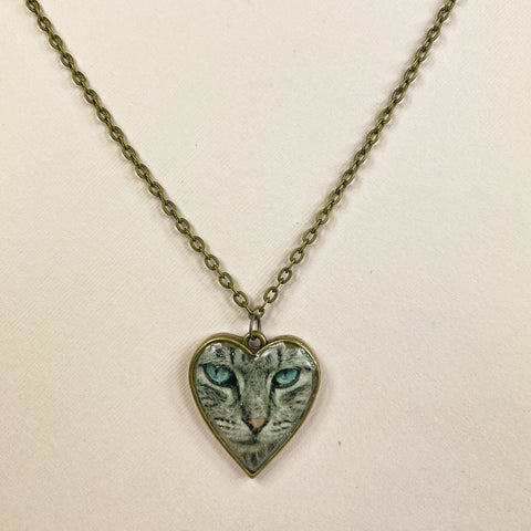 medium view Grey Tabby Cat Blue Eyes Resin Heart Necklace