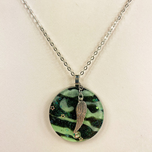 Medium view of Green Tiger Striped Resin Necklace with Angel Wing