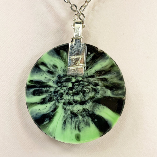 back of Green Tiger Striped Resin Necklace with Angel Wing