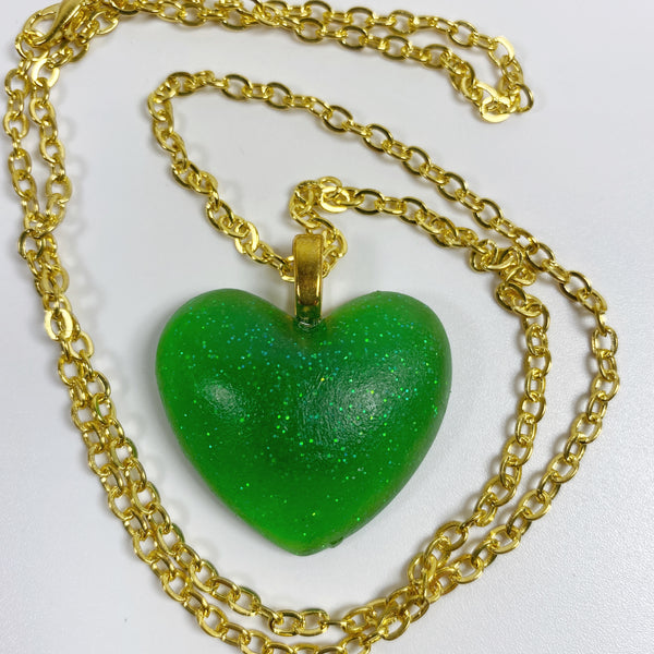 Lucky Green Heart Resin Necklace front view