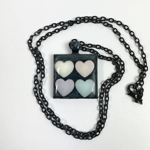 Seeing Double Resin Heart Necklace front view