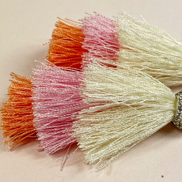 closeup of the beautiful color layers of the tassels