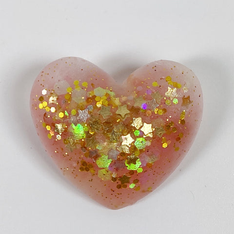 Pink Champagne Resin Heart Pin with Gold Stars front view