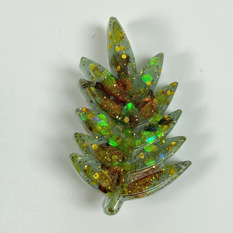 Green Sparkly Resin Leaf Pin front view