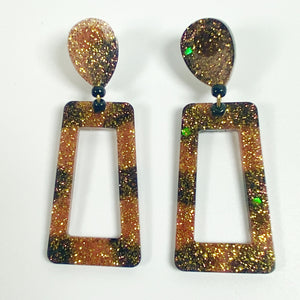 Brown and Black Striped Square Hoop Resin Earrings front view