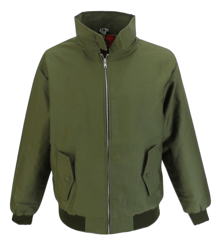 Ikon Original Mens Olive Green Retro Mod Classic Harrington Jacket - Ikon Original