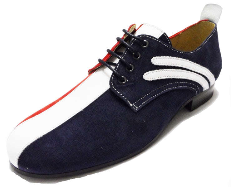 Ikon Original Badger Leather/Suede Shoes in Red White and Blue