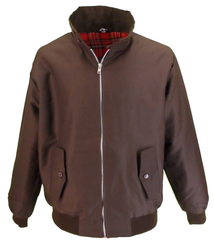Ikon Original Mens Brown Retro Mod Classic Harrington Jacket