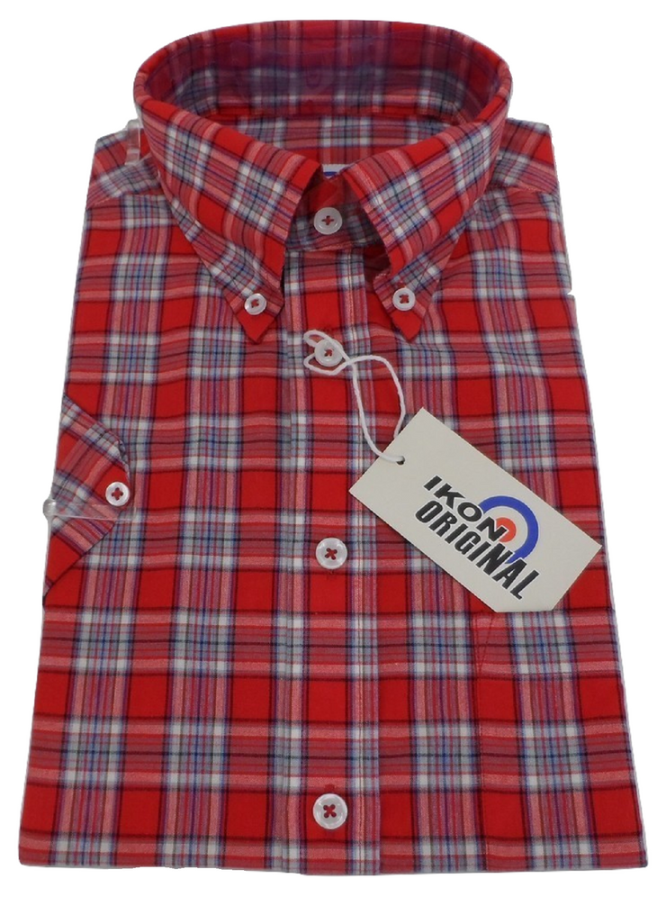 Ikon Original Red Checked Short Sleeved Button Down Shirts
