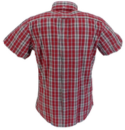 Ikon Original Maroon/Grey Checked Short Sleeved Button Down Shirts